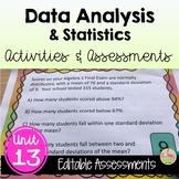 Algebra 2 Data Analysis & Statistics Review-Quiz-Test Bundle
