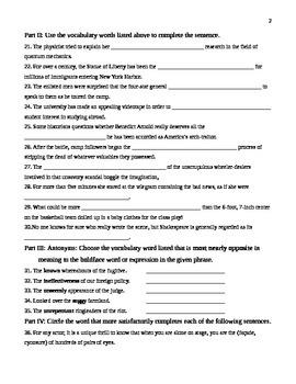 Unit 13 Vocabulary Test based on Orange Sadlier Workbook Level G