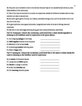 Unit 13 Vocabulary Test based on Sadlier Workbook Level D