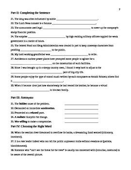 Unit 14 Vocabulary Test based on Orange Sadlier Workbook Level G