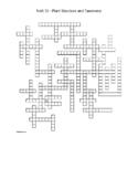 Unit 15 -  Plant Structure & Taxonomy Crossword