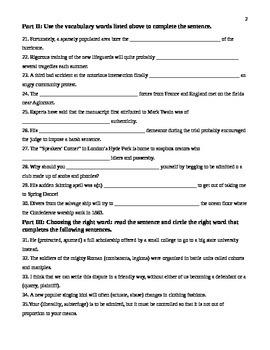 Unit 15 Vocabulary Test based on Sadlier Workbook Level D