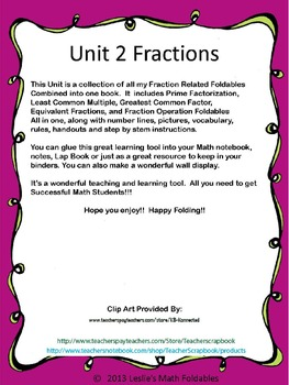 Unit 2 All you need for Fractions Foldables