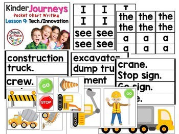 Journeys: Kindergarte Unit 2 BUNDLE Lessons 6-10 Pocket Chart Writing Activities