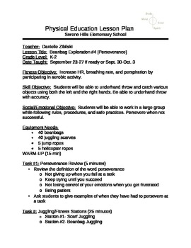 Unit 2-Beanbag/Juggling-Perserverance Lesson #4- K-2 PE (Physical Education)