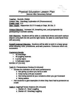 Unit 2-Beanbag/Juggling-Perserverance Lesson #4- K-2 PE (P