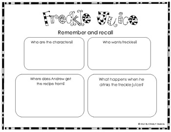 Freckle Juice Activities | Graphic Organizers and much more