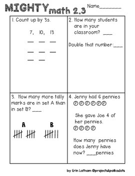 Unit 2 Challenge Math Boxes for Everyday Math 4,1st grade