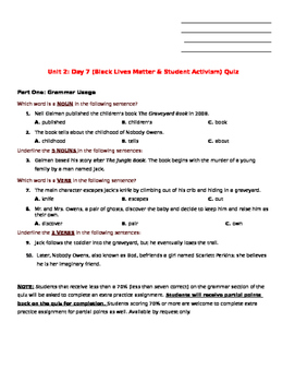 Unit 2: Day 7 (Black Lives Matter & Student Activism) Quiz MODIFIED