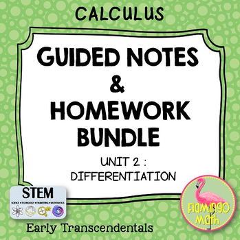 Calculus: Differentiation Notes & Homework Bundle