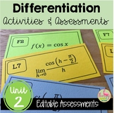 Differentiation Activities and Assessments  (Calculus - Unit 2)