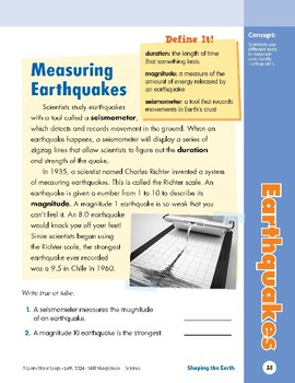 Unit 2: Earthquakes: Concepts (Skill Sharpeners: Science)