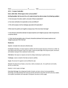 Unit 2 - European Exploration Study Guide - Louisiana Scope and Sequence - Gr. 5