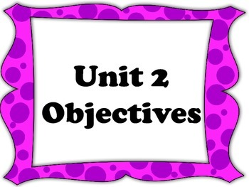 EveryDay Math 4, Unit 2 Objectives for Fourth Grade EDM Co