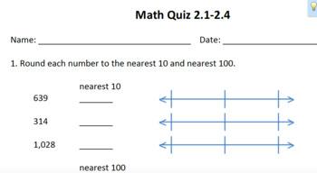 Unit 2 Everyday Math Quizzes