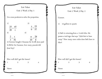 Unit 2 Exit Tickets (Rates, Ratios, Percents, Functions)