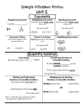 Unit 2 (Exponents/Scientific Notation) Georgia Milestone Review