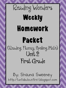 Unit 2 First Grade Homework Packet- McGraw Hill's Reading Wonders