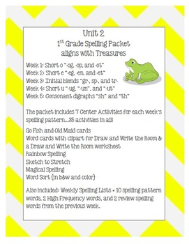 Unit 2 First Grade Spelling Activities {Aligns with McGraw-Hill Treasures}