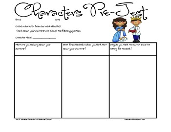 Unit 2: Following Characters into Meaning pre and post test
