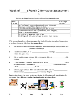 Unit 2 French 2 C'est a Toi Assessment Pack