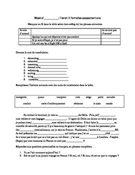 Unit 2 French 3 C'est a Toi Assessment Pack