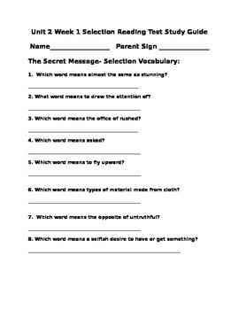 Unit 2 Grade 4 Wonders Selection Test Study Guide