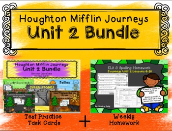Unit 2 Houghton Mifflin Journeys BUNDLE (Homework & Test Practice Task Cards)