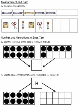 Unit 2 Kindergarten Math Pre & Post - Everyday Math and Common Core Corrolated