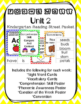 Unit 2 Kindergarten Reading Street Focus Wall Weeks 1-6 Chevron