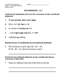 Unit 2 Lesson 1: Conditional Statements Worksheet