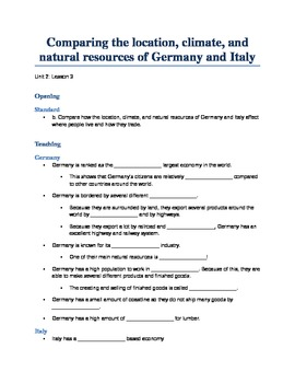 Unit 2: Lesson 3: Compare and Contrast Italy and Germany Power Point Guide