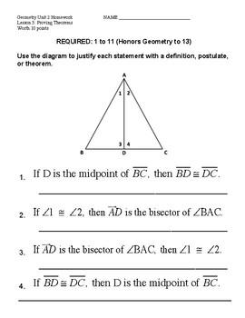Unit 2 Lesson 3: Proving Theorems Worksheet