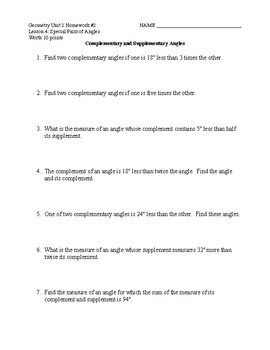 Unit 2 Lesson 4: Special Pairs of Angles Worksheet #2