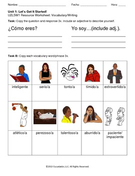 ¿Cómo eres? (Day 2) Spanish Complete Lesson Plan with Worksheets & Assessment