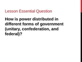 Unit 2: Lesson 7: Types of Governments (Unitary, Confederation, and Federal)
