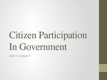 Unit 2: Lesson 8: Citizen Participation (Autocratic, Oligarchic, Democratic)