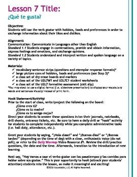 ¿Qué (no) te gusta(n)? Spanish Complete LP, Worksheets & Assessment