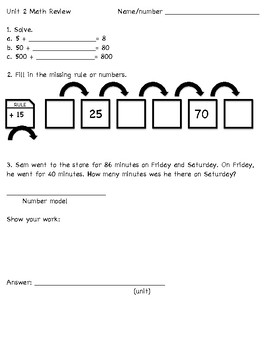Unit 2 Math Review for Everyday Mathematics 3rd grade (2015 edition)