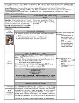 Unit 2 Module B Lesson 6 Grade 3  ReadyGEN What is a Commu