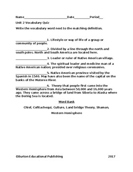 Unit 2-Native Americans Vocabulary Quiz