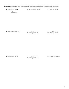 Unit 2 Objective 14: Solving literal Equations (only variables)