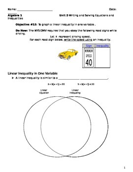Unit 2 Objective 15: Graph a Linear Equation 1 Variable
