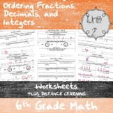 Unit 2 - Ordering Rational Numbers -Worksheets - 6th Grade