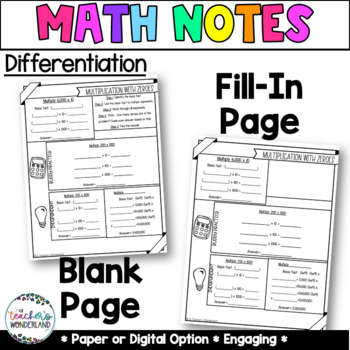 Unit 2- Place Value Guided Math Notes for Math Notebooks Grade 4