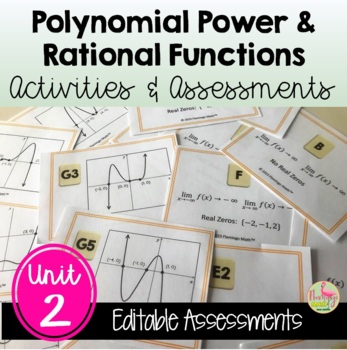 PreCalculus Polynomial Power and Rational Functions Review & Assessment Bundle