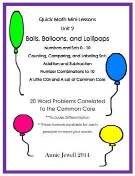 Kindergarten Word Problems Counting/Cardinality Operations/Algebraic Thinking