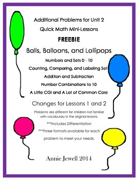 Unit 2 Quick Math Mini-Lessons Balls, Balloons, and Lollip