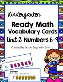 Unit 2 Ready Math Vocabulary Cards for Kindergarten