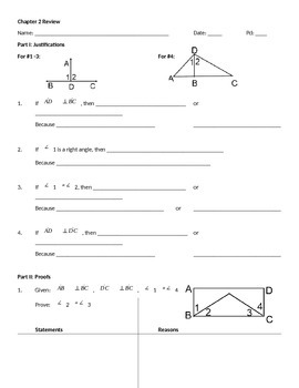 Unit 2 Review: Honors Geometry